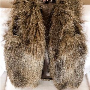 H&M Brown Fur Vest. Sz 2